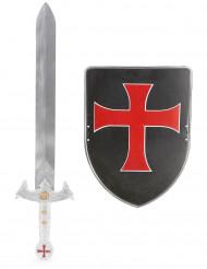 Rødt og sort korsridder-sæt med sværd og skjold barn