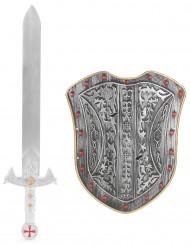 Sølvfarvet ridder-sæt med sværd og skjold i plast barn