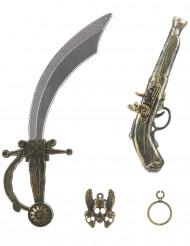 Pirat-sæt i plast med sværd pistol ørering og smykke-vedhæng