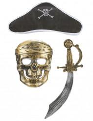 Pirat-sæt i plast med sværd maske og hat barn