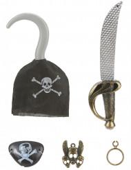Pirat-sæt i plast med sværd krog vedhæng ørering og øjenklap barn