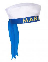 Hvid matroshat med blåt bånd til voksne