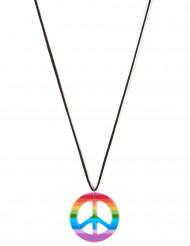 Farverig peace-halskæde hippie