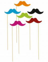 6 pinde med overskæg selvlysende