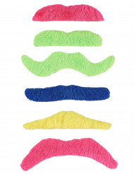6 selvklæbende neon overskæg