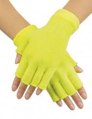 Halvhandsker korte neon gule til voksne