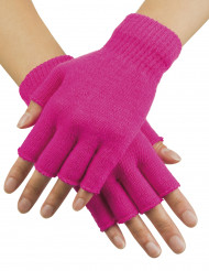 Halvhandsker korte neon pink til voksne