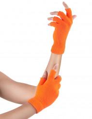 Halvhandsker korte neon orange til voksne