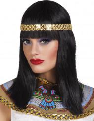 Paryk Nilens dronning sort halvlang med pandebånd til kvinder