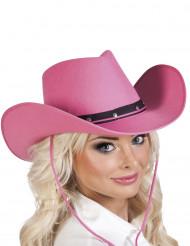 Hat cowboy lyserød til voksne