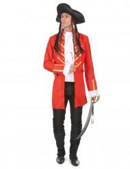 Piratkaptajn kostume I rødt til voksne