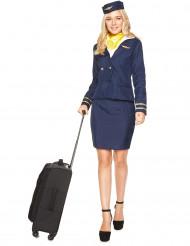 Blåt kostume stewardesse voksen