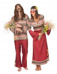 Parkostume hippie bordeaux til voksne