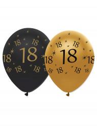 6 balloner sort og guld 18 år