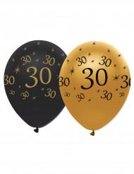 6 balloner latex sort og guld 30 år