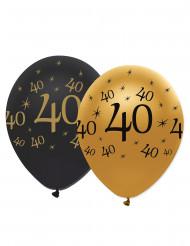 6 Balloner sort og guld 40 år