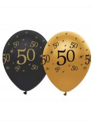 6 balloner sort og guld 50 år