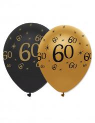 6 Balloner latex sort og guld 60 år