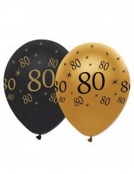 Balloner 6 stk. sort og guld latex 80 år