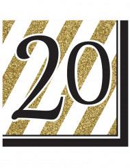 Servietter 16 stk 20 års sort og guld