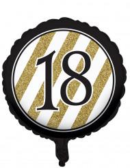 Aluminium Ballon 18 år sort og guld 46 cm
