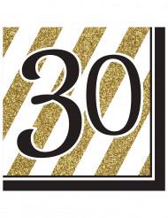 Servietter 16 stk. 30 års sort og guld