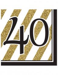 Servietter 16 stk 40 års sort og guldfarvet