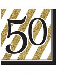 Servietter 16 stk. sort og guld 50 år