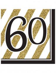 Servietter 16 stk 60 års sort og guld