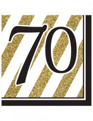 Servietter 16 stk 70 års sort og guld