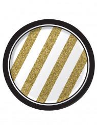 8 små sorte og guldfarvede paptallerkener 18 cm.