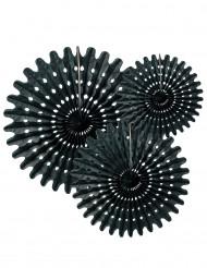 Papir rosetter i sort 20,30 og 40 cm