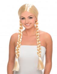 Blond paryk med lange fletninger
