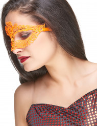 Halvmaske stof blonder orange selvlysende voksne