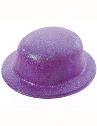 Hat bowler med pailletter violet til voksne