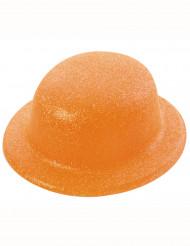 Hat bowler med pailletter orange til voksne