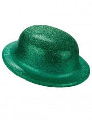 Bowlerhat med grønt glimmer til voksne