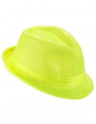 Hat borsalino med pailletter neon gul til voksne