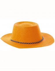 Hat cowgirl orange med pailletter til voksne