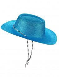 Hat cowgirl blå med pailletter til voksne