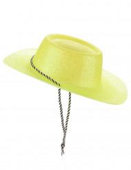 Hat cowgirl gul med pailletter til voksne