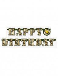 Happy Birthday militær guirlande 1,6 meter