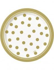 Tallerkener 8 stk. fødselsdag i guld 17 cm