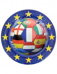 6 Paptallerkener Euro 2016 Fodbold 23 cm