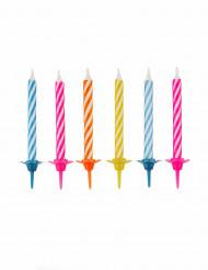 10 fødselsdagslys farvede med stilke