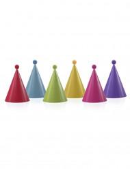 6 Festhatte i flere farver med kvaster