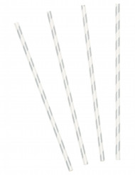 Sugerør 10 stk. sølvfarvet striber