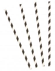 10 sugerør med sorte striber