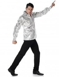 Sølvblank diskoskjorte herre
