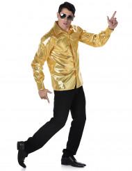 Guldfarvet diskoskjorte med pailletter